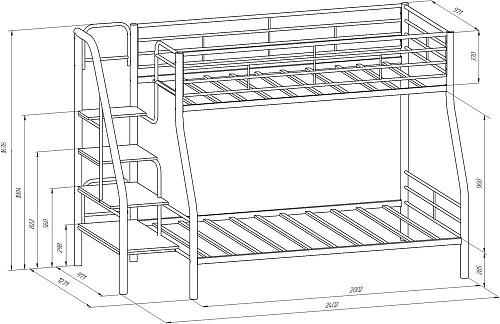 Металлическая Двухъярусная кровать Толедо-1Я Коричневый/Дуб беленый с ящиком. | Мой домашний маркет